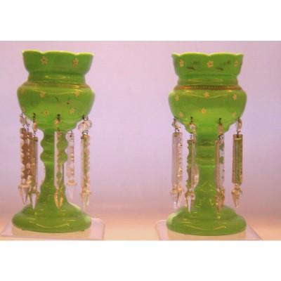 Antichi CANDELIERI con pendenti in cristallo