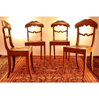 Quattro sedie seduta impagliata