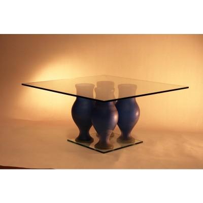 Tavolino con elementi in vetro di Murano